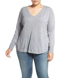 Caslon | Gray Marled V-neck Sweater (plus Size) | Lyst