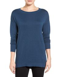 Caslon | Blue Zip Back High/low Tunic Sweater (petite) | Lyst