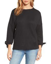 Caslon | Black Caslon Tie Sleeve Sweatshirt | Lyst