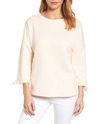 Caslon | Natural Caslon Tie Sleeve Sweatshirt | Lyst