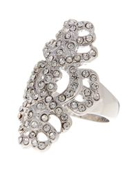 Ariella Collection | Metallic Pave Shield Crystal Ring | Lyst