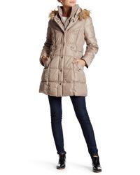 DKNY - Natural Faux Fur Trim Side Tab Puffer - Lyst