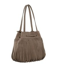 Frye - Gray Heidi Fringe Leather Bucket Bag - Lyst