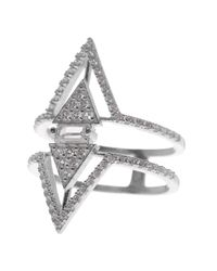 Native Gem Jewelry - Metallic Sterling Silver Pave Double Triangle Ring - Lyst