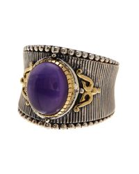 Konstantino - Metallic Erato Sterling Silver & 18k Gold Framed Oval Amethyst Ring - Size 7.5 - Lyst