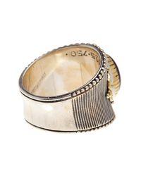 Konstantino - Metallic Erato Sterling Silver & 18k Gold Framed Oval Amethyst Ring - Size 7.5 - Lyst
