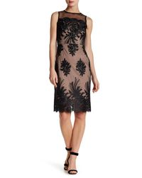 Donna Ricco | Black Sheer Embroidered Illusion Dress | Lyst