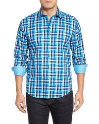 Bugatchi - Blue Shaped Fit Check Sport Shirt for Men - Lyst