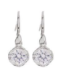 Diane von Furstenberg - White Round Cz Drop Earrings - Lyst