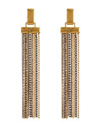 Diane von Furstenberg - Metallic Two-tone Ball Chain Strand Tassel Earrings - Lyst