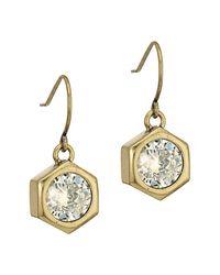 Nicole Miller - Metallic Hexagon Stone Drop Earrings - Lyst