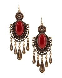 Sparkling Sage - Multicolor Oval Stone Detailed Chandelier Earrings - Lyst