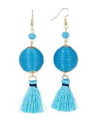 Sparkling Sage - Blue Thread Ball And Short Tassel Earrings - Lyst