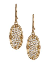 Melinda Maria - Metallic 14k Gold Plated Orion Pave White Cz Oval Drop Earrings - Lyst