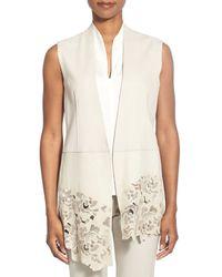 Elie Tahari - Blue 'laila' Laser Cut Genuine Leather Vest - Lyst