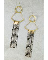 Vanessa Mooney - Metallic The Cher Yellow Gold Plated Beaded Fringe Chandelier Earrings - Lyst
