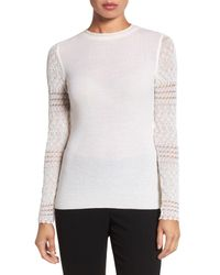 Elie Tahari | White Theresa Lace Sleeve Merino Wool Sweater | Lyst