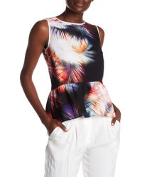 Sandro | Red Sleeveless Feather Print Silk Trim Blouse | Lyst