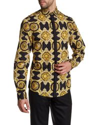 Versace | Black Printed Long Sleeve Trim Fit Woven Shirt for Men | Lyst