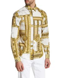 Versace | Metallic Long Sleeve Kaleidoscope Print Trim Fit Woven Shirt for Men | Lyst