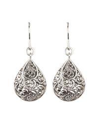 Lois Hill - Metallic Sterling Silver Repousse Teardrop Dangle Earrings - Lyst