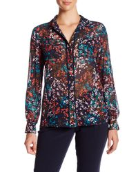 Ellen Tracy | Blue Sheer Floral Pocket Blouse | Lyst