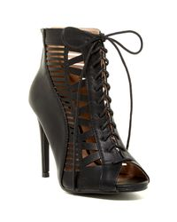 Elegant Footwear - Black Envy Caged Bootie - Lyst