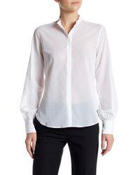 Helmut Lang | White Sheer Mandarin Collar Button Up Shirt | Lyst