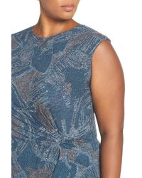 NIC+ZOE - Blue Broken Pottery Twist Front Sheath Dress (plus Size) - Lyst