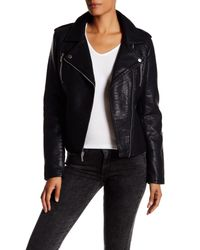French Connection - Black Textured Faux Leather Jacket - Lyst