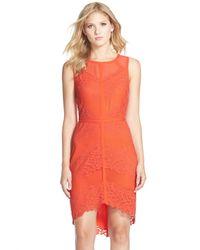 Adelyn Rae | Orange Lace Mesh Sheath Dress | Lyst