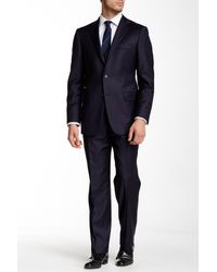 Hickey Freeman | Blue Classic Fit Navy Two Button Notch Lapel Wool Suit for Men | Lyst
