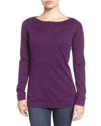 Eileen Fisher | Purple Fine Merino Bateau Neck Top | Lyst
