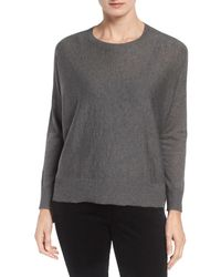 Eileen Fisher | Gray Ballet Neck Boxy Pullover | Lyst