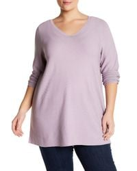 Eileen Fisher | Purple V-neck Pullover (plus Size) | Lyst
