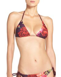 Ted Baker | Multicolor Juxtapose Rose Triangle Bikini Top | Lyst
