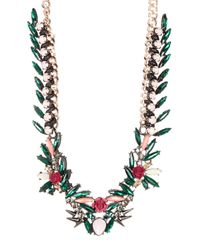 French Connection - Multicolor Floral Drama Crystal Statement Necklace - Lyst