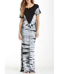 506160183d Lyst - Fraiche By J Short Sleeve Tie-dye Maxi Dress in Black