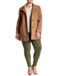 Fleurette - Multicolor Stand Collar Wool Blend Car Coat (plus Size) - Lyst