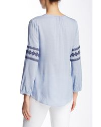 Dress Forum | Blue Embroidered Lace-up Blouse | Lyst