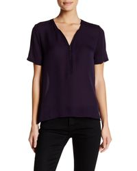 The Kooples - Blue Short Sleeve Zip Silk Blouse - Lyst