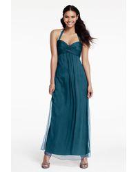 Amsale - Blue Chiffon Halter Gown - Lyst