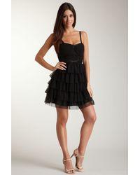 Guess | Black Ruffle Mesh Bustier Dress | Lyst