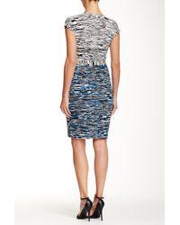 Maggy London - Blue Short Sleeve Printed Wrap Dress - Lyst