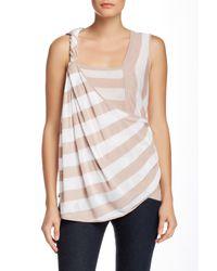 L.A.M.B. | White Yarn Dyed Linen Blend Stripe Tank | Lyst
