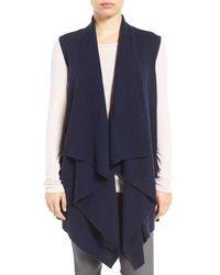 Halogen | Blue Wool & Cashmere Drape Front Sweater Vest | Lyst