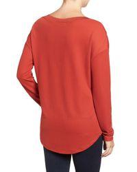 Halogen - Red Rib Knit Trim Top - Lyst