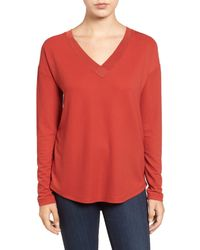 Halogen - Red Rib Knit Trim Top - Lyst
