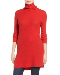 Halogen | Red Funnel Neck Tunic | Lyst