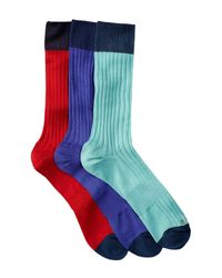 Hook + Albert | Blue Patterned Crew Socks - Pack Of 3 for Men | Lyst